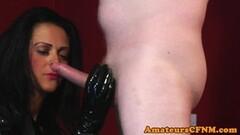 Hot domina spits on slaves hard cock Thumb
