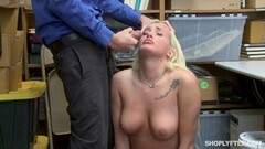 Naughty Daisy Lee covered in cum by hung mallcop Thumb