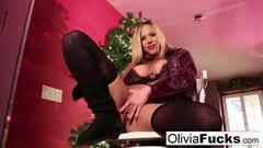 Kinky Christmas masturbation with busty blonde Olivia Thumb