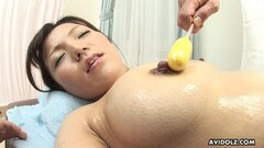 Stuffing her pussy with a toy on a table Thumb