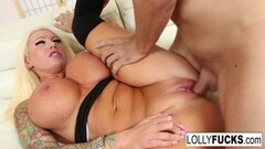 Naughty Lolly Ink gets a good fuck and a load on her giant tits Thumb
