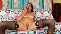 Sexy MILF Fingers Her Slot and Fucks a Guy Silly Thumb